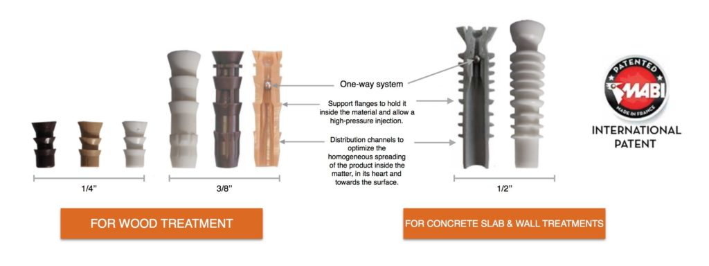 Range of injectors available for Wood and Concrete Slab treatments