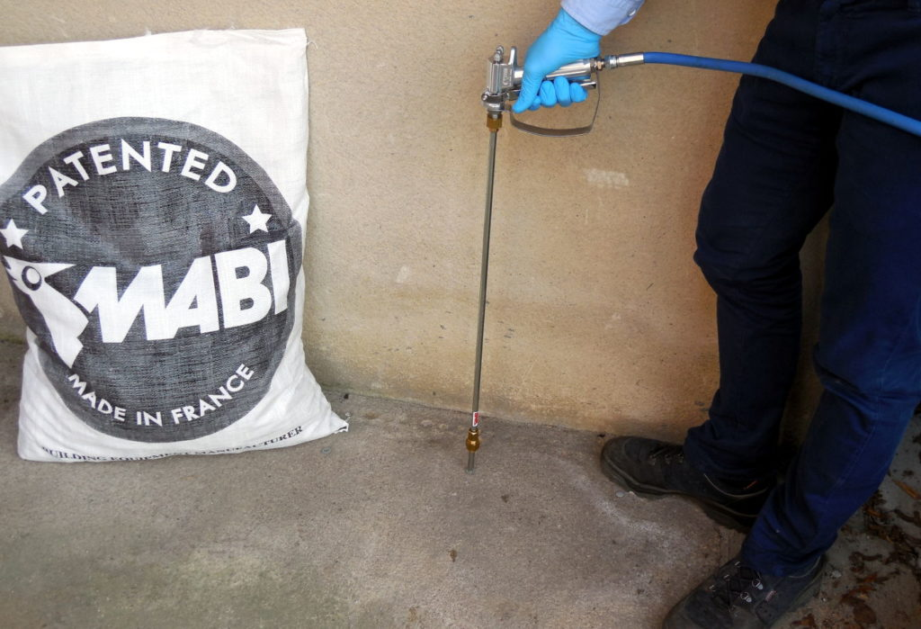 Chemical MABI injection in concrete slab